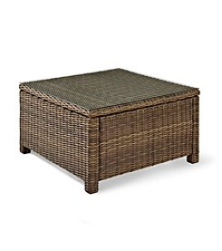 Crosley Furniture Bradenton Outdoor Wicker Sectional Glass Top Coffee Table