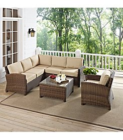 Crosley Furniture Bradenton 5-pc. Outdoor Wicker Seating Set with Sand Cushions