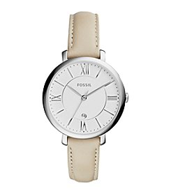 Fossil® Women's 36mm Jacqueline Silvertone Watch With Ivory Leather Strap