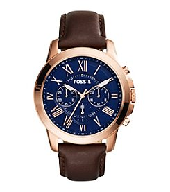 Fossil® Men's Grant Watch in Rose Goldtone with Brown Leather Strap and Navy Dial