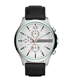 A|X Armani Exchange Men's Silvertone Polished Stainless Steel Watch with Leather Strap