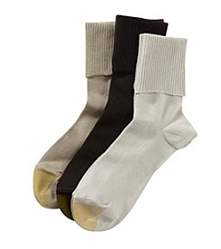 GOLD TOE® 3 Pack Ultra Soft Providence Turn Cuff Socks