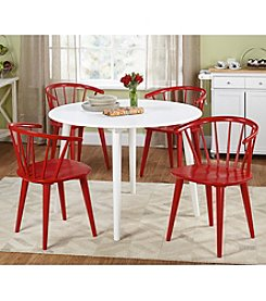TMS 5-pc. Florence White & Red Dining Set