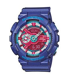 G-Shock Women's S-Series Violet Analog-Digital Watch with Pink-Aqua Dial Accents