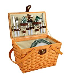 Picnic at Ascot Frisco Green Honey Picnic Basket for Two