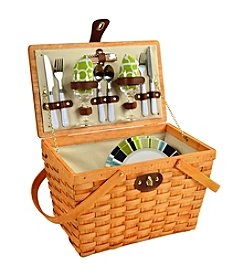 Picnic at Ascot Frisco Trellis Green Honey Picnic Basket for Two