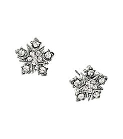 Downton Abbey® Silvertone Belle Epoch Starburst Button with Crystal Accents Earrings