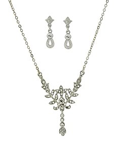 Downton Abbey® Silvertone Crystal Earrings and Necklace Set