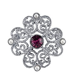 Downton Abbey® Silvertone Simulated Pearl and Purple Crystal Brooch