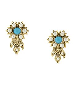 Downton Abbey® Goldtone Simulated Pearl and Imitation Turquoise Flower Earrings