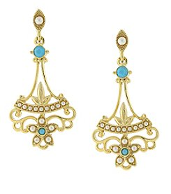 Downton Abbey® Goldtone Simulated Pearl and Imitation Turquoise Drop Earrings
