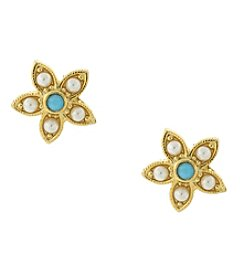 Downton Abbey® Goldtone Simulated Pearl and Imitation Turquoise Flower Button Earrings