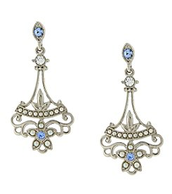 Downton Abbey® Silvertone Filigree, Simulated Pearl and Light Blue Crystal Drop Earrings