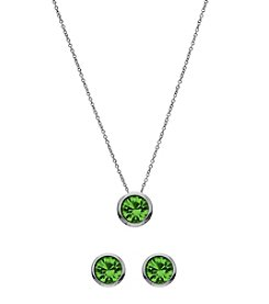 OroClone Swarovski® Peridot Crystal August Birthstone Necklace and Earrings Set