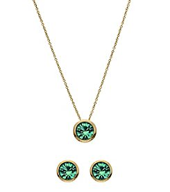 OroClone Swarovski® Blue Ziron Crystal December Birthstone Necklace and Earrings Set