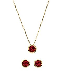 OroClone Swarovski® Siam Crystal January Birthstone Necklace and Earrings Set