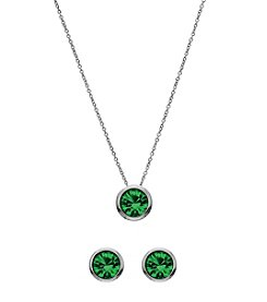 OroClone Swarovski® Emerald Crystal May Birthstone Necklace and Earrings Set