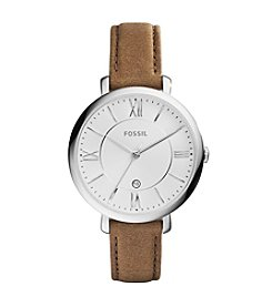 Fossil® Women's 36mm Silvertone Jacqueline Brown Leather Strap Watch