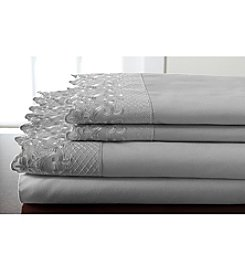 Elite Home Products Hotel Lace Microfiber Sheet Set