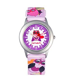 Red Balloon Love Owl Girls' Stainless Steel Colorful Time Teacher Watch