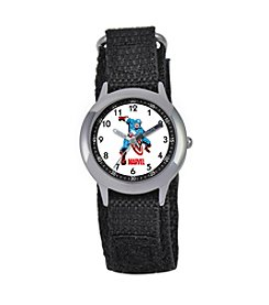 Marvel® Boys' Captain America® Black Time Teacher Watch