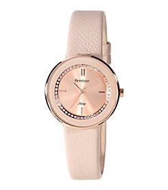Armitron® Women's Swarovski Crystal Accented Blush Pink Leather Strap Watch