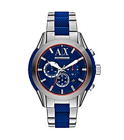 A|X Armani Exchange Men's Silvertone Blue Dial Watch With Stainless Steel Bracelet