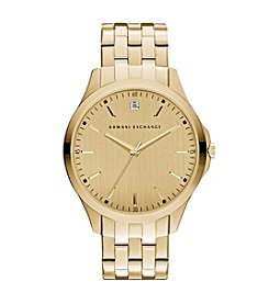 A|X Armani Exchange Men's Goldtone Watch With Diamond On Goldtone Dial
