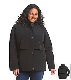 Forecaster Plus Size Faux Silk Capelet Coat