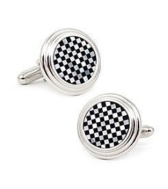 Ox & Bull Men's Onyx and Mother of Pearl Checker Step Cufflinks
