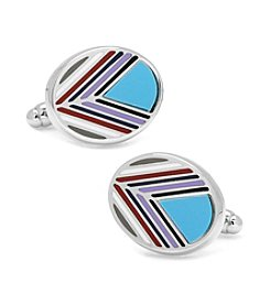 Ox & Bull Men's Chevron Oval Blue Cufflinks