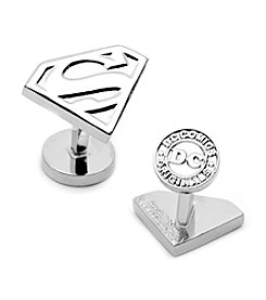 DC Comics Men's Silver Superman Shield Cufflinks