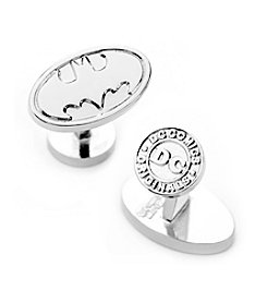 DC Comics Men's Silver Oval Batman Logo Cufflinks