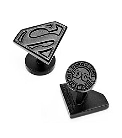 DC Comics Men's Satin Black Superman Shield Cufflinks