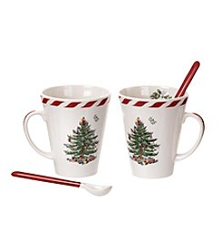 Spode® Christmas Tree Peppermint Mugs With Spoons Set