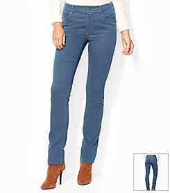Lauren Jeans Co.® Petites' Super-Stretch Heritage Straight Perry-Wash Jean