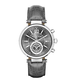 Michael Kors® Women's Silvertone Stainless Steel Sawyer Watch With An Embossed Grey Croco Leather Strap