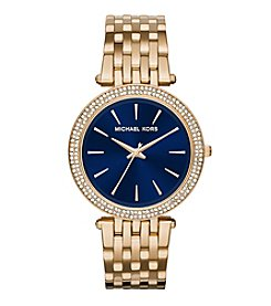 Michael Kors Women's 39mm Goldtone Plated Darci Watch with Navy Dial