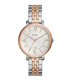 Fossil® Women's Jacqueline Watch In Tri Tone With Metal Link Bracelet