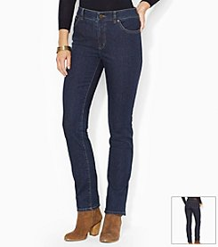 Lauren Jeans Co.® Petites' Super-Stretch Heritage Straight Rinse-Wash Jean