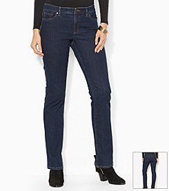 Lauren Jeans Co.® Petites' Super-Stretch Modern Curvy Rinse-Wash Jean