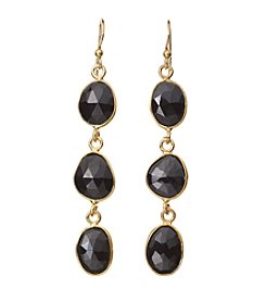 Genuine Black Spinel Bezel Drop Earrings In Gold Over Sterling Silver