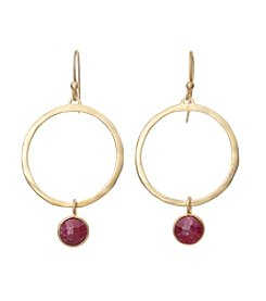 Dyed Red Bezel Earrings In Gold Over Sterling Silver