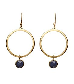 Dyed Blue Bezel Earrings In Gold Over Sterling Silver