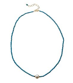 Reconstituted Turquoise Rondelles With Genuine Freshwater Pearl Necklace In Gold Over Sterling Silver