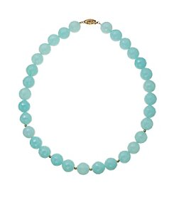 Dyed Sea Blue Glass Beads Stretch Necklace In Gold Over Sterling Silver