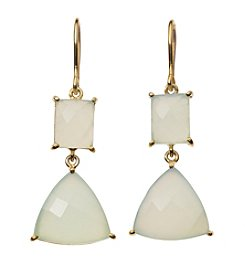 Genuine Light Blue Quartz Earrings In Gold Over Sterling Silver