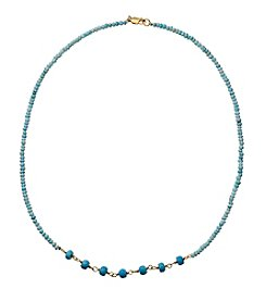 Reconstituted Turquoise Rondelles Necklace In Gold Over Sterling Silver