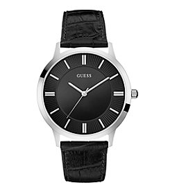 GUESS Men's Black and Silvertone Classic Leather Watch