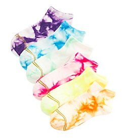 GOLD TOE® Girls' 6 Pack Tie Dye Ballet Flat Socks
